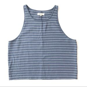 Madewell blue / white cropped striped tank top XL